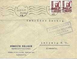 Carta De Zaragoza A Alemania 1938 Censura. Guerre D'Espagne. - Nationalists Censor Marks