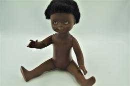 Vintage DOLL : African Black Brown Doll - 22cm - Made In Germany - Original - 1960 - Curly Hair - Rubber - Plastic - Action Man