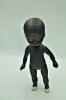 Vintage DOLL : African Black Doll - 20cm - Made In Germany - Original - 1940 - Vinyl - Rubber - Soft Plastic - Action Man