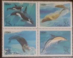 Marine Life Russia 1990 FISH DEPHINE  SET 4v Mnh - Mundo Aquatico