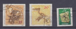 Allemagne, DDR, Y&T N°1521-1523-2038 Oblitérés- Fossiles, Fossils. - Fossils
