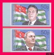ABKHAZIA 2019 Famous People First Presidents Of Abkazia Vladislav Ardzinba & Sergei Bagapsh Background Flag 2v Imp MNH - Stamps