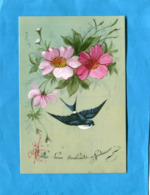Fleurs Peintes -avec Hirondelle- Sur Carte Celluloîd   -a Voyagé  Années 1910-20 - Blumen