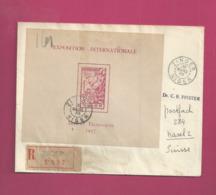 Lettre Recommandée  De 1938 Pour La Suisse - YT N° BF1 RR Sur Lettre - Exposition Internationale Arts Et Techniques - Cartas