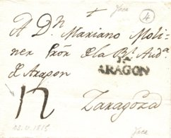 D.P. 4. 1815. Carta De Jaca A Zaragoza. Porteo '12'. - Spanje