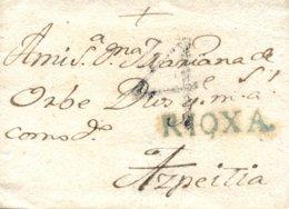 D.P. 8. 1784 (9 OCT). Carta De Miranda De Ebro A Azpeitía. Marca P.E. 4A. Porteo '4'. Rara. - ...-1850 Vorphilatelie
