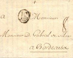 D.P. 11. 1738 (22 NOV). Carta De Bilbao A Burdeos. Marca P.E. 4N. Porteo '8'. Muy Rara. Lujo. - ...-1850 Vorphilatelie