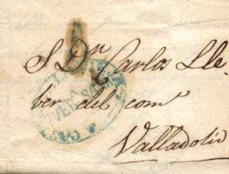 D.P. 14. 1844 (14 ABR). Carta De Puebla De Sanabria A Valladolid. Marca P.E. 3A. Rara. - Espagne