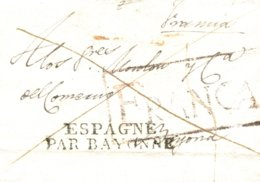 D.P. 18. 1826 (7 NOV). Carta De Huete A Bayona (Francia). Marca Franca P.E. 4R. Extraordinaria. - ...-1850 Vorphilatelie