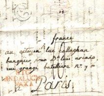 D.P. 25. 1829 (28 JUN). Carta De Trigueros A París. Marca P.E. 1R. Porteo '10'. Rara. - ...-1850 Vorphilatelie