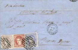 Ø 107/09 En Carta De Palma De Mallorca A Buenos Aires. Tarifa 350 Mil. Vía Lisboa. Marca P.C. 37. Preciosa. - 1868-70 Gobierno Provisional