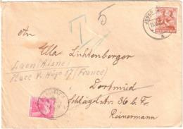 Lettre Taxée RDA Allemagne De L'EST Arrivée Paris 27 12 1948 Verso Dest LAON Aisne Taxe 5F Gerbes Timbre Taxe Yv  T 85 - Postage Due