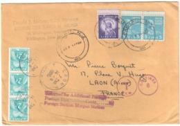 PASSAIC New Jersey USA Lettre 13c Dest LAON France Isne Taxe 6F 2F Gerbe Bleu Vert Yv T 82 Ob 14 6 1955 - Etats-Unis