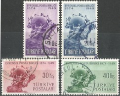 Turkey 1949 - Mi. 1244-47 O, U.P.U. (Universal Postal Union), 75th Anniversary | UPU Monument, Bern | Globes - 1921-... República