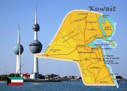 Kuwait Country Map New Postcard Landkarte AK - Koweït