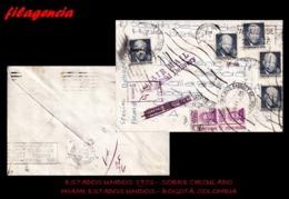 PIEZAS. ESTADOS UNIDOS. ENTEROS POSTALES. SOBRE CIRCULADO 1972. MIAMI. ESTADOS UNIDOS-BOGOTÀ. COLOMBIA. MARCAS PARLANTES - United States