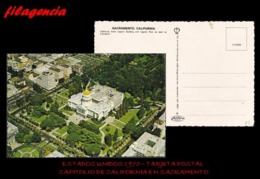 TRASTERO. ESTADOS UNIDOS. TARJETAS POSTALES. TARJETA POSTAL 1970. CAPITOLIO DE CALIFORNIA EN SACRAMENTO - Estados Unidos