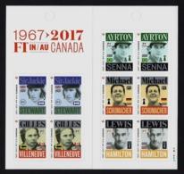 """2017 CANADA """"F1 IN CANADA / 50° ANNIVERSARIO"""" LIBRETTO MNH - 1952-.... Regno Di Elizabeth II"""