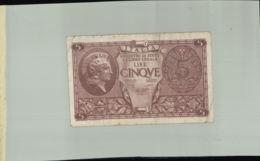 Billet De Banque ITALIA    5 LIRE  1944 Sept 2019  Alb Bil - [ 1] …-1946: Königreich