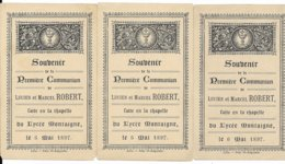 TROIS IMAGES SOUVENIR DE MA PREMIERE COMMUNION LE 6 MAI 1897 - Santini