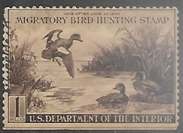 US 1942  RW9  $1   Duck Hunting Stamp Used   2016 Scott Value $45  Straight Edge - Duck Stamps