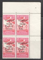 1943 Timbre Taxe 60 Cent Surchagé «France Libre» Yv T33 ** Bloc De 4 Dont 2 Surcharge Partielle TRÈS RARE. - Postage Due