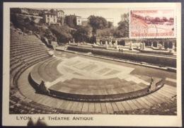 CM325 Carte Maximum 1124 Bimillénaire Lyon Flamme «En 1958 Lyon A 2000 Ans» Théâtre Antique 5/10/1957 - Maximumkarten