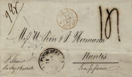 """1860- Lettre De PONDICHERY Pour Nantes  """" P. Steamer  / Via  Suez & Marseille  """" Taxe 14 Tampon Entrée COL.FR / V.SUEZ A - Briefe U. Dokumente"""