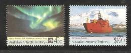 Australian Antarctic Territory 1991 Treaty Anniversary Set 2 MNH Aurora & Ship - Unused Stamps