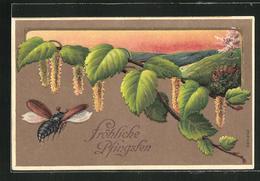 Präge-Lithographie Fröhliche Pfingsten, Maikäfer Und Birkenzweig - Insects