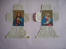 LOT DE 2 IMAGES RELIGIEUSES CROIX DENTELLE - Devotieprenten