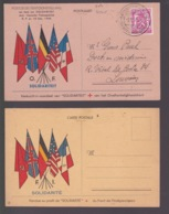 Postkaart  NL En. FR  ,,SOLIDARITEIT,,  Postzegeltentoonstelling  Gentse Postzegelclub  9/12/45 - WW II