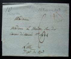 16 Messidor L'an 9 (1801) P Rouge Sur Lettre Pour Lille (Nord) - Poststempel (Briefe)