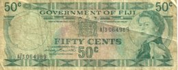 FIJI 50 CENTS BLUE NAME OF COUNTRY QEII HEAD FRONT & NATIVE HUT BACK ND(1971)P.64a SIGNATURE BARNETT F+.READ DESCRIPTION - Fiji