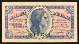 SPAGNA / SPAIN 50 CENTIMOS 1937 Pick#93 Unc Fds Lotto.1279 - [ 3] 1936-1975 : Regime Di Franco