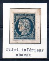 YT N° 4 Sur Fragment - Variété Filet Inférieur Absent - 1849-1850 Ceres