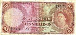 FIJI 10 SHILLINGS BROWN QEII HEAD FRONT & MOTIF BACK DATED 28-04-1961 F+ P.52b READ DESCRIPTION!! - Fidji