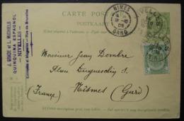 Belgique Nivelles 1905 J. Grade Et L. Michiels Quinquina Espagnol Pour Nîmes (france) Revers Commémoratif 1830 1905 - Ganzsachen
