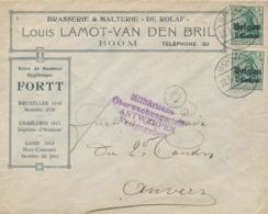 """30/201 -- Enveloppe TP Germania BOOM 1917 - Entete Brasserie Malterie """" De Rolaf """" Lamot - Médailles Aux Expositions - Guerre 14-18"""