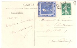 Carte Postale  5 Mots 5c Semeuse Vert  Yv 137 Etiquette Erinophilie PHILIPPE VIII Dest Sallertaine Challans Vendée - France