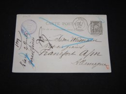 France 1889 Etain 10c Black Stationery Card To Germany__(L-29633) - Biglietto Postale