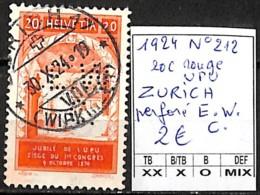 NB - [840867]TB//O/Used-Suisse 1924 - N° 212, 20c Rouge, ZURICH, Perforé E.W.C, U.P.U - Suisse