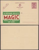 """BELGIQUE PUBLIBEL 65c """"LE RECHAUD BREVETE MAGIC"""" (DD) DC-4180 - Entiers Postaux"""