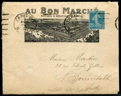 """FRANCE - ROULETTE N° 140k / LETTRE """" AU BON MARCHÉ """" O.M. DE PARIS LE 3/3/1923 POUR LA SARTHE AVEC CORRESPONDANCE - TB - Coil Stamps"""