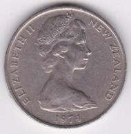 New Zealand. 20 Cents 1974 Elizabeth II. Copper-Nickel. KM# 36.1 - New Zealand
