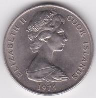 Cook Islands 20 Cents 1974  Elizabeth II. Copper-Nickel.  KM# 5 - Cook