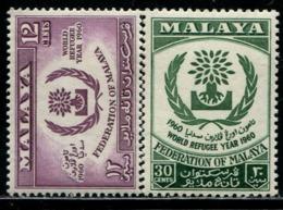 MY0827 Malaya 1960 World Refugee Year Logo 2V MNH - Malaysia (1964-...)