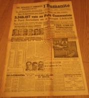 L'HUMANITÉ 26 Sept. 1945 3.348.317 Voix Au Parti Communiste - Unis Socialistes Et Communistes Rendraient La Démocratie - Journaux - Quotidiens
