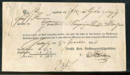 Baden / 1844 / Postschein Hs. Heiligenberg, Grossh. Bad. Postwagens-Expedition (25065) - ...-1849 Vorphilatelie