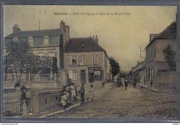 Carte Postale Toilée 62. Guines Pont D'Avignon Et Rue De La Basse-Ville Trés Beau Plan - Autres Communes